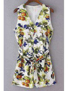 V-Neck Sleeveless Printed Romper - White L