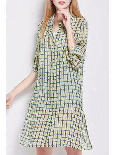 Side Slit Shirt Collar Long Sleeve Plaid Shirt Dress - Yellow S