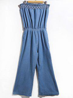 Women's Stylish Strapless Denim Jumpsuit - Blue S