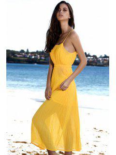 Spaghetti Strap Pleated Yellow Dress - Yellow Xl
