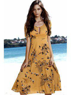 Mariposa Y Estampado Floral De Talle Alto Vestido - Amarillo M