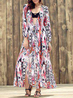 Ethnic Plunging Neckline Long Sleeve Print Slit Dress - L