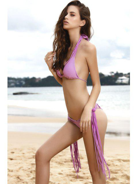 fashion Purple String Bikini Set - PURPLE M Mobile