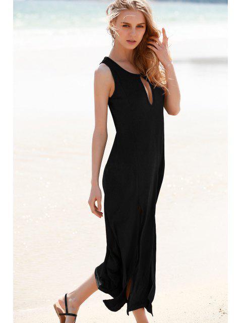 fancy Keyhole Design Double Split Dress - BLACK XL Mobile