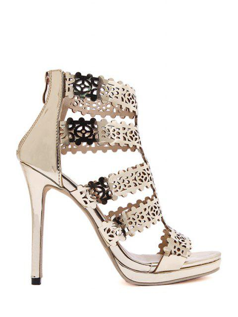 chic Zip Hollow Out Stiletto Heel Sandals - GOLDEN 36 Mobile