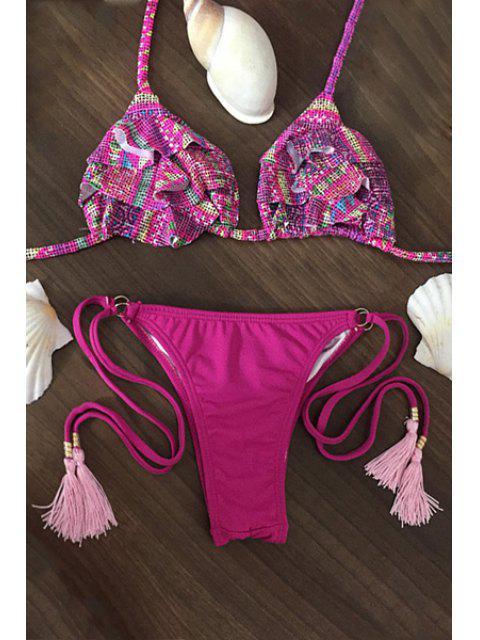 womens Printed Spaghetti Straps Flouncing String Bikini Set - ROSE L Mobile