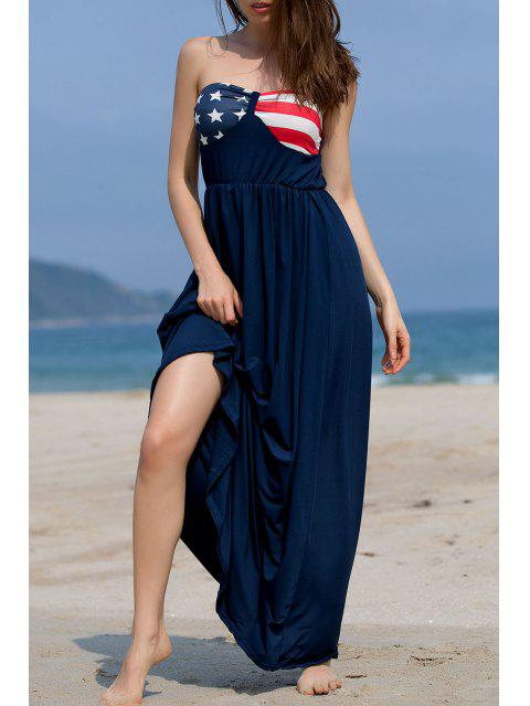 women Printed Bandeau Loose Fitting Maxi Dress - BLUE M Mobile