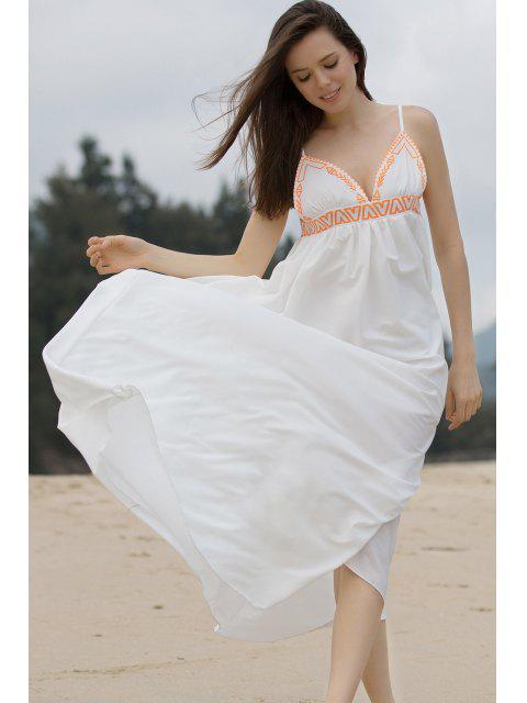 trendy High Slit Spaghetti Straps Maxi Dress - WHITE M Mobile