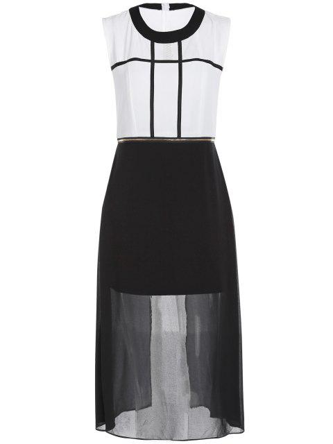best Zipper Waist Chiffon Dress - WHITE AND BLACK XL Mobile