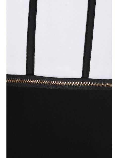 best Zipper Waist Chiffon Dress - WHITE AND BLACK XL Mobile