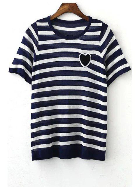 women Striped Round Collar Short Sleeve Heart Embroidery T-Shirt - PURPLISH BLUE M Mobile