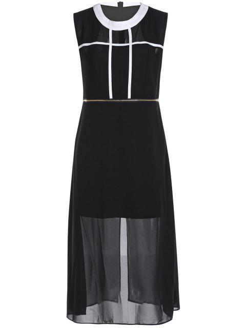 lady Zipper Waist Chiffon Dress - BLACK 2XL Mobile
