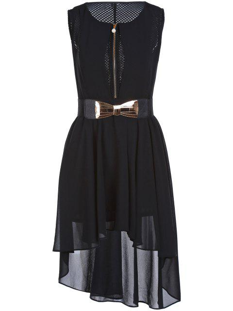 outfit Mesh Design Irregular Chiffon Dress With Belt - BLACK XL Mobile