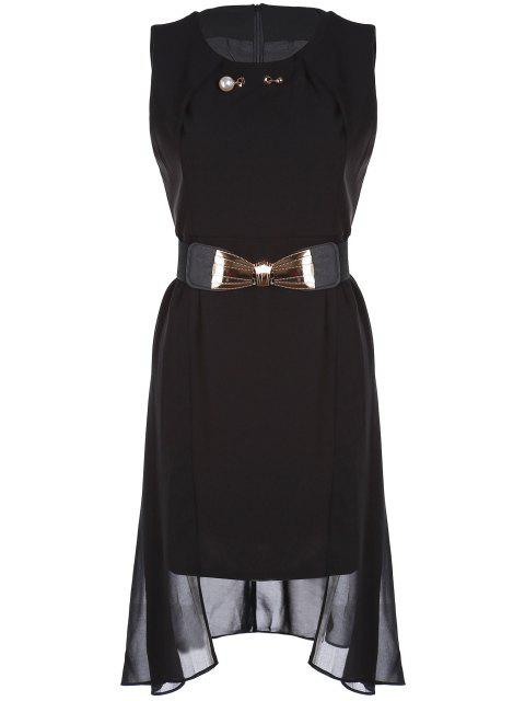 hot Faux Pearl Chiffon Belted Dress - BLACK 2XL Mobile