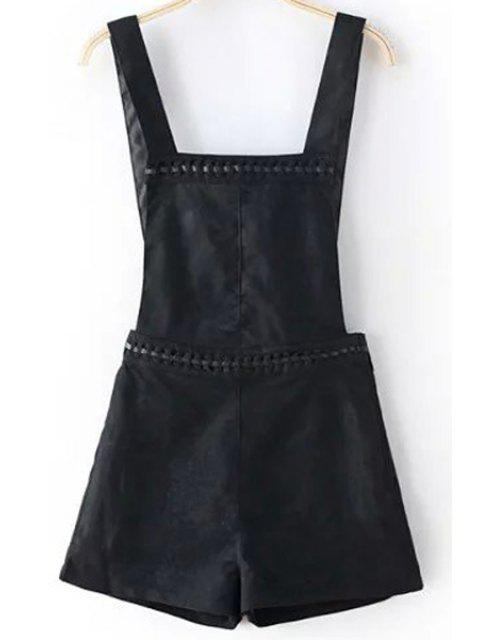 women Solid Color Suede Overall Shorts - BLACK XL Mobile