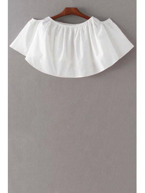 Geerntete weg von der Schulter-Schmetterlings-Hülsen-Bluse - Weiß L Mobile