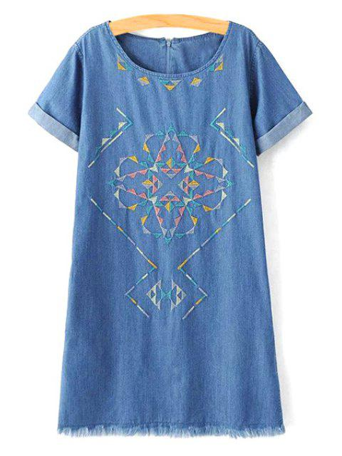 women's Rolled Sleeve Embroidered Straight Dress - BLUE S Mobile