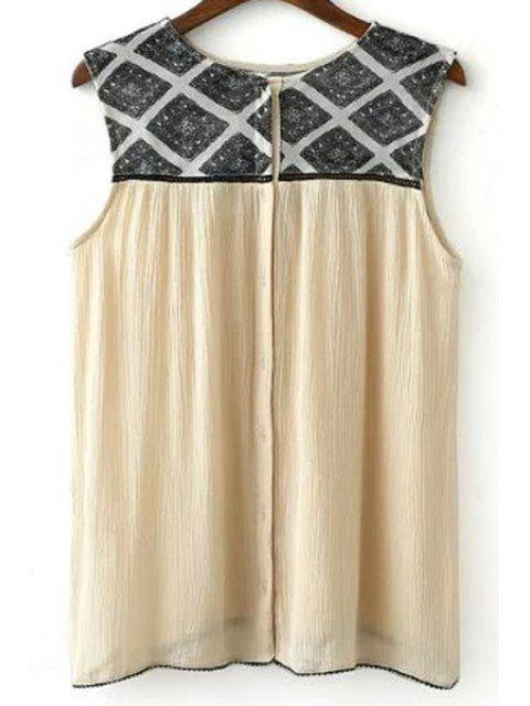shop Geometric Pattern Flouncy Tank Top - LIGHT KHAKI L Mobile