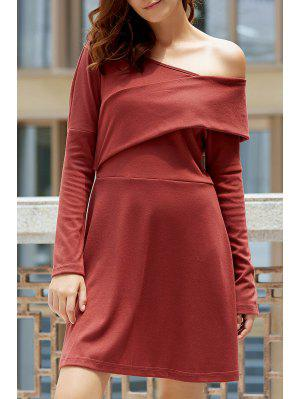 Cold Shoulder Long Sleeve Swingy Dress - Laterite M