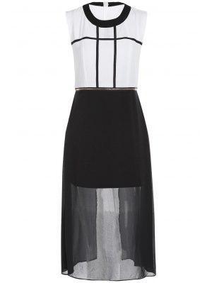 Zipper Waist Chiffon Dress - White And Black Xl