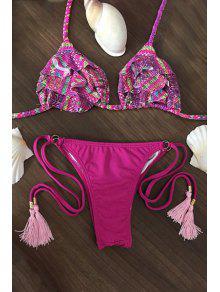 Printed Spaghetti Straps Flouncing String Bikini Set - Rose L