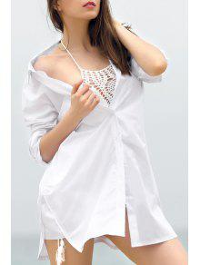 Oversized White Shirt Collar Long Sleeve Shirt - White M