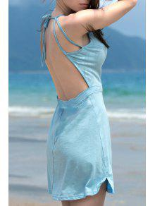 Fashion Backless Solid Color Spaghetti Straps Sleeveless Dress - Lake Blue L