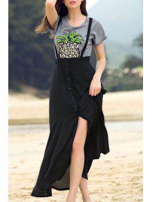 Buy Black Straps High Slit Skirt - BLACK M