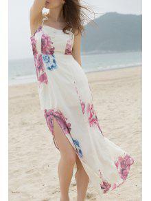 Off-The-Shoulder High Slit Bohemian Dress - Beige L