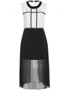 Zipper Vestido De La Gasa De La Cintura - Blanco Y Negro Xl
