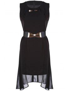 Faux Pearl Chiffon Belted Dress - Black 2xl