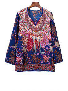 Floral De La Vendimia Impresión Campesino Top - Azul M