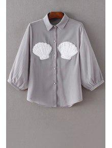Faux Pearl Button Chiffon Shirt - Gray M