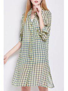 Side Slit Shirt Collar Long Sleeve Plaid Shirt Dress - Yellow S
