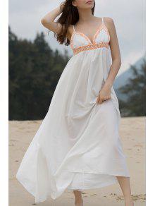 High Slit Spaghetti Straps Maxi Dress - White M