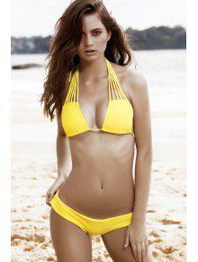 Strappy Halter Plunge Neck Bikini Set - Yellow S
