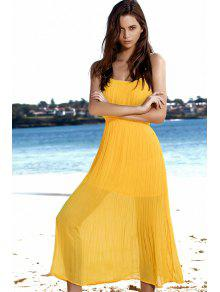 a12b445e7d Spaghetti Strap Pleated Yellow Dress  Spaghetti Strap Pleated Yellow Dress  ...