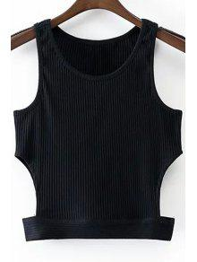 Black Round Collar Cut Out Cropped Tank Top - Black L