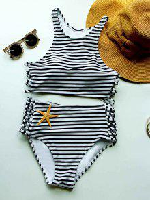 Striped High Waisted Bikini With Crop Top - White And Black M