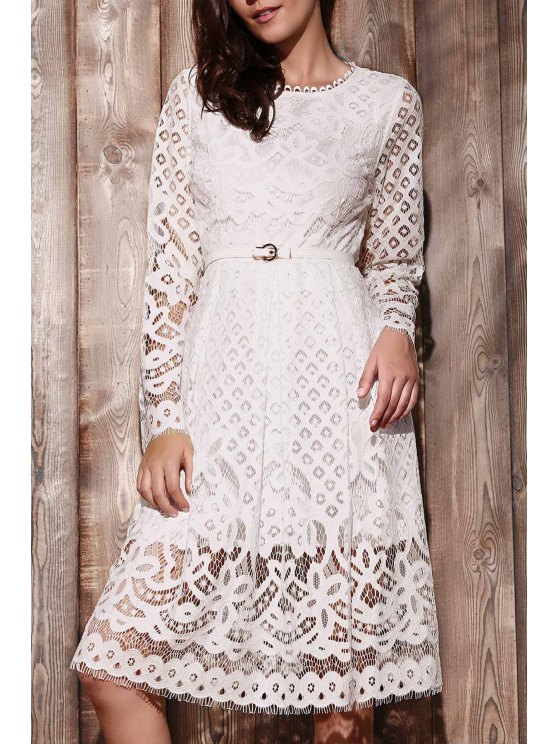 buy Lace Round Neck Long Sleeve A Line Dress - WHITE 2XL
