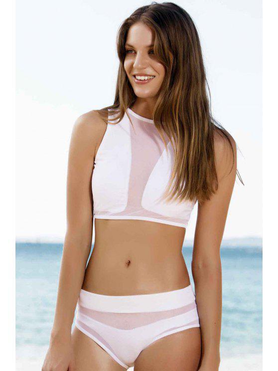Malla Diseño de talle alto de dos piezas traje de baño - Blanco S