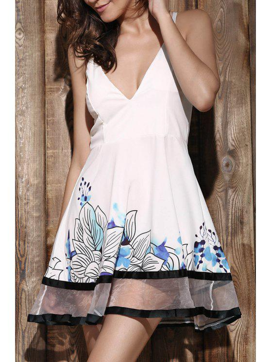 ladies Floral Print Camisole Party Dress - WHITE XL