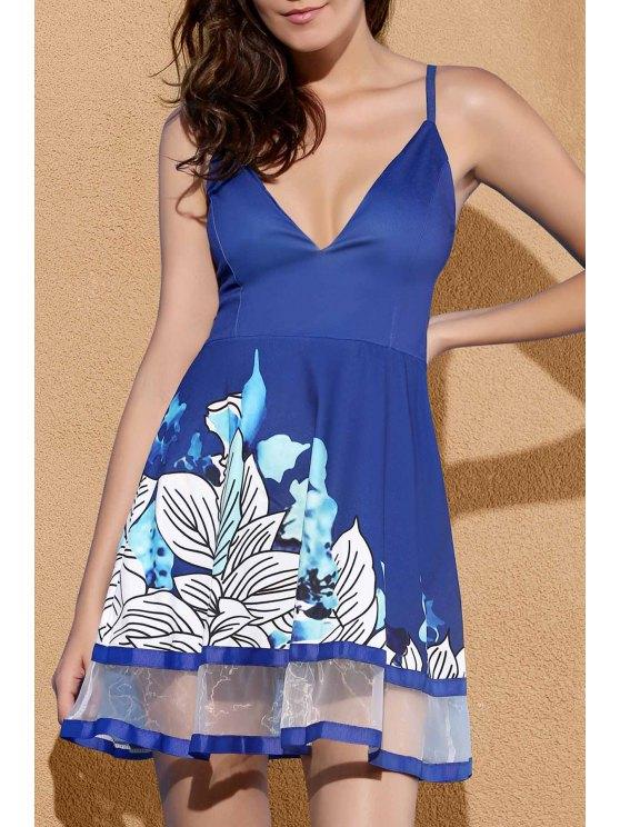 unique Floral Print Camisole Party Dress - BLUE S
