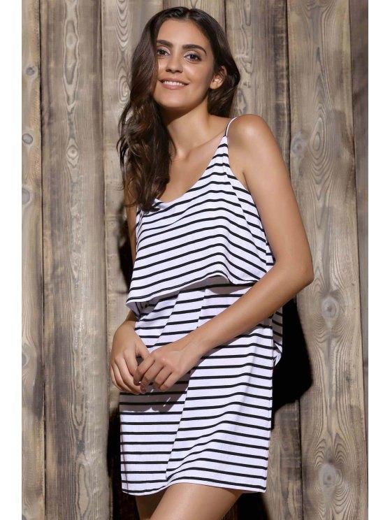 hot Striped Cami Dress - WHITE XL
