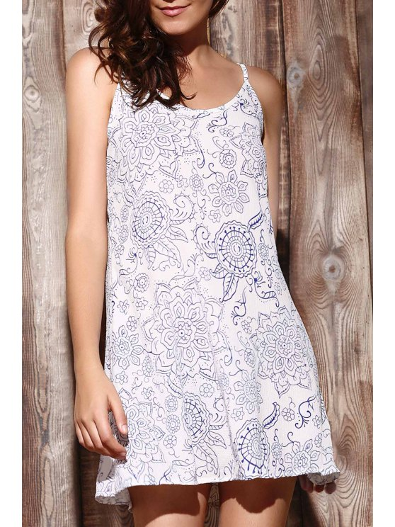 lady Ethnic Print Cami Dress - LIGHT BLUE XL