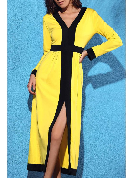 women Front Slit V-Neck Long Sleeve Cut Out Maxi Dress - YELLOW S