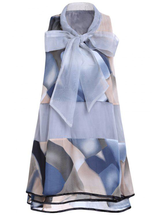 fancy Printed Voile Spliced Stand Neck Sleeveless Dress - GRAY ONE SIZE(FIT SIZE XS TO M)