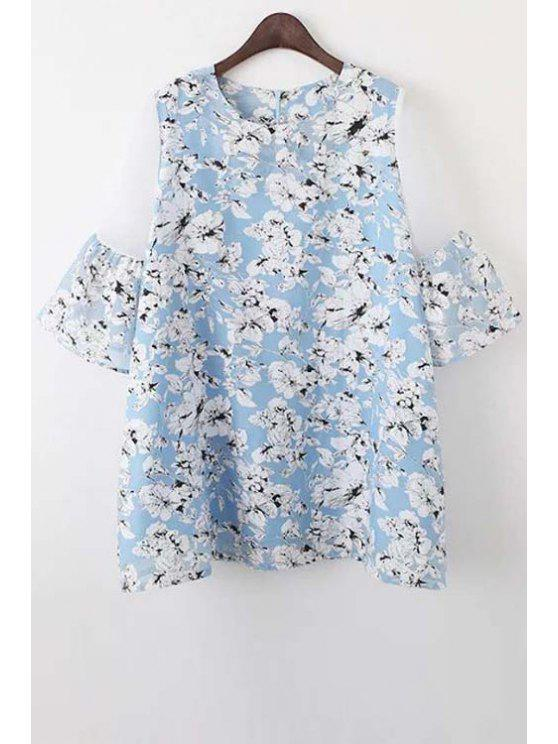 Organza Spliced ​​Sleeve Round Collar Floral Print Dress - Azul claro L