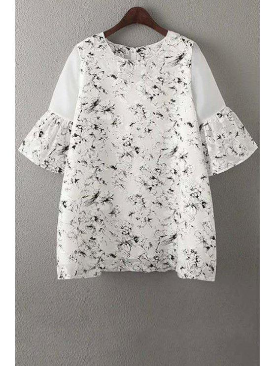 online Organza Spliced Sleeve Round Collar Floral Print Dress - WHITE M