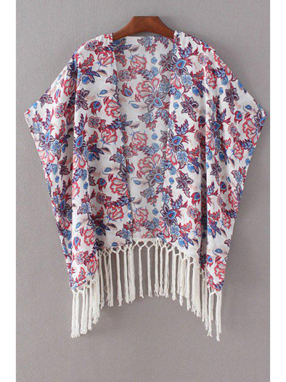 outfits Printed Batwing Sleeve Tassels Spliced Cape Blouse - WHITE M